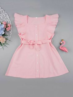 Product name: Toddler Girls Button Front Ruffle Trim Belted Dress at SHEIN, Category: Toddler Girl Dresses Frocks For Girls, Little Girl Outfits, Little Girl Fashion, Toddler Girl Dresses, Kids Outfits, Girls Dresses, Toddler Girls, Baby Girl Frocks, Fashion Kids