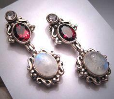 Vintage Moonstone Garnet Earrings Victorian by AawsombleiJewelry, $285.00