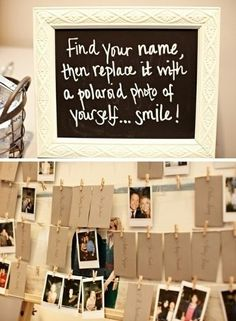 Rather than a guestbook you could do photos of the guests. I wanted to do this! Even if you skip Polaroids you could have someone stand at the door with a digital camera and snap shots of people