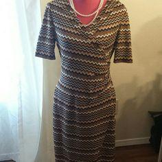 Lovely Preston & York Missoni Style Dress Gorgeous Missoni Style Brown, Copper & Cream Colour Chevron Faux Wrap Dress, New, never worn, Just lovely on! Size 10 Preston & York Dresses