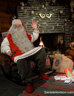 Santa Claus in Santa's Post Office in Rovaniemi in Finnish Lapland before Christmas