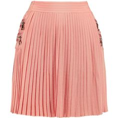 Balmain Pleated stretch-knit mini skirt (21.784.435 VND) ❤ liked on Polyvore featuring skirts, mini skirts, balmain, antique rose, pull on skirt, short skirts, red mini skirt, red pleated skirt and red rose skirt