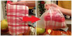 Tiež zvyknete utierky vyvárať? Poradíme vám jednoduchý trik, vďaka ktorému ich vyčistíte bleskovo, dokonca za pár sekúnd. A čo je najlepšie, celkom bez práce!        Všetko, čo potrebujete je mikrovlnka, plastové vrecko a kúsok jadrového mydla na Go Green, Clean House, Watermelon, Gift Wrapping, Cleaning, Homemade, Home Decor, Scrappy Quilts, Gift Wrapping Paper