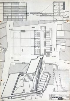 Bauhaus Architecture/ Competition design for the Petersschule, Basel, draft: Hannes Meyer, Hans Wittwer and the building department of the Bauhaus Dessau. Bauhaus Architecture, Architecture Office, Architecture Design, Architecture Posters, Classical Architecture, Landscape Architecture, Hans Scharoun, Walter Gropius, Basel