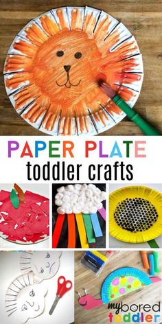 Paper Plate Crafts for Toddlers Summer Crafts For Toddlers, Easy Toddler Crafts, Fun Activities For Toddlers, Toddler Art, Craft Activities, Preschool Crafts, Art For Kids, Toddler Learning, Indoor Activities