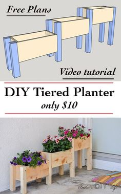How to make a tiered planter box. Build a DIY tiered planter box with only 10 in lumber and under 2 hours. Great beginner project for your yard Diy Wood Projects, Outdoor Projects, Backyard Projects, Diy Projects At Home, Furniture Projects, Backyard Ideas, Diy Projects Apartment, Sloped Backyard, System Furniture
