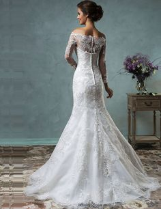 Tgis is the dress. amelia sposa 2016 wedding dresses off the shoulder lace long sleeves overskirt stunning trumpet fit to flare mermaid dress celeste back view Convertible Wedding Dresses, 2016 Wedding Dresses, Wedding Attire, Bridal Dresses, Wedding Gowns, Lace Wedding, Mermaid Wedding, Wedding Dress Gallery, Lace Bride