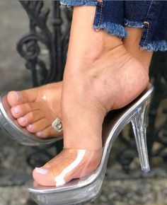 Clear Heel Boots, Clear Heels, Beautiful Toes, Gorgeous Heels, Sexy Legs And Heels, Hot High Heels, Cute Toes, Pretty Toes, Sexy Sandals