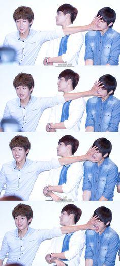 "sungyeol, hoya, myungsoo – Sungyeol: ""Nope your face won't take my spotlight"" Hoya: ""Don't touch me"" Myungsoo: *bites Sungyeol*"