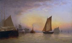 Francis Augustus Silva(1835-1886)/New York Harbor, N.Y./1880/Oil on canvas, 12 x 20 in./Collection of the New-York Historical Society