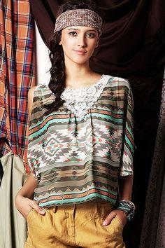 ROMWE | National Wind Lace Neck Green Shirt, The Latest Street Fashion #ROMWE