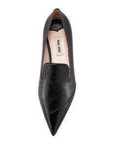 Miu Miu Mixed Leather Point-Toe Smoking Slipper