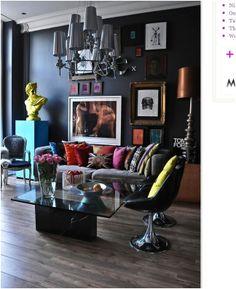 Black walled living room