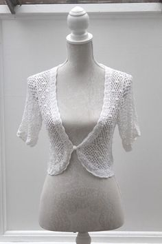 fd6b4a6362f Details about J TAYLOR at DEBENHAMS Pretty Crochet White Cardigan Cruise  Party Size 10 (96)