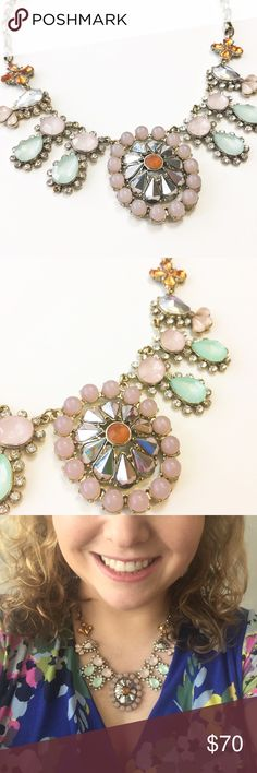 J.Crew Crystal & Mirror Statement Necklace J.Crew Statement Necklace. Retail: $128. Large oval centerpiece features an amber-colored center stone surrounded by mirrored petals & a halo of pink stones. A pair of light green pear-shaped stones are on either side. Strings of rhinestones surround & connect the side stones. Delicate amber-colored crystal flowers on end. Antiqued chain. While the J.Crew metal tag fell off, it does have the classic J.Crew clasp & is authentic. 💎Excellent pre-loved…