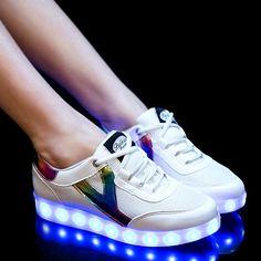 063485726e7b Fashion Women LED Sneakers Breathable USB Mens Light Up Shoes Men s LED  Luminous Shoes For Adults