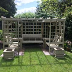 Riviera Seated Pergola: Churnet Valley Garden Furniture Quality garden furniture, hand made in Staffordshire. Buy now for fast delivery on this product Diy Pergola, Patio Gazebo, Cheap Pergola, Backyard Pergola, Pergola Shade, Backyard Landscaping, Pergola Kits, Garden Seating, Outdoor Seating