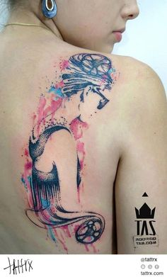 Water Color Tattoo (410) Rodrigo Tas - Audrey Hepburn