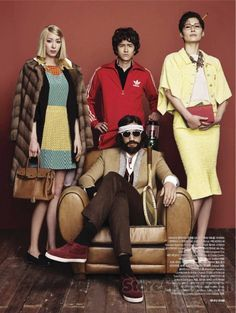 """""""The Neo Tennenbaums (sic)"""": Asian Royal Tenenbaums by Kim Youngjun for Bazaar Korea. This is so hilarious.I couldn't not pin it. Cute Costumes, Halloween Costumes, The Royal Tenenbaums, Wes Anderson, Cosplay, Harpers Bazaar, Style Me, Hilarious, Funny"""