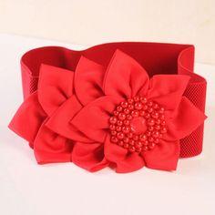 Chic Faux Pearl Flower Design Elastic Belt For Women, RED in Belts | DressLily.com