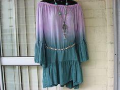 REDUCED...Vintage  Ombre Dip-Dyed Ruched Flowy  Gypsy Boho Stevie Nicks  Dress O/S. $59.00, via Etsy.