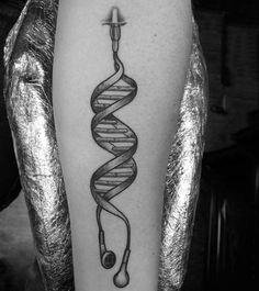 Original idea DNA shaped earphones into skin realistic tattoo