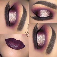vampy lips, glitter + purple halo eye   dramatic + chic fall makeup @makeupbyglamureyesz