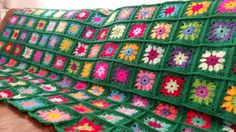 Granny Squares Flowers Crochet Blanket Afghan by Thesunroomuk
