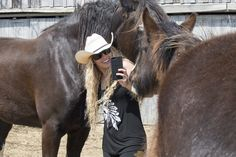 Professional Model, Niki Tilley, captured trying to get a selfie with the BIG Shires Shire Horse, Farms, Riding Helmets, Horses, Selfie, Big, Model, Animals, Homesteads