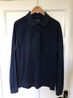 Men's Large Blue ARMANI JEANS Muscle Fit Long Sleeve Polo Shirt #ARMANI #CasualShirts