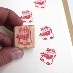Tampon mini Maneki neko chat japonais gravé à la main en