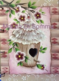 Bird House One Stroke Painting