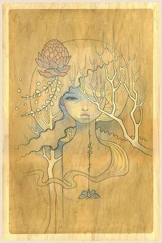 Audrey Kawasaki, Art Nouveau, Art Visage, Pop Surrealism, Cool Art, Vintage World Maps, Illustration Art, Sketches, Fine Art