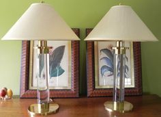 Pair Frederick Cooper LUCITE & BRASS Table by GreatHouseEstate