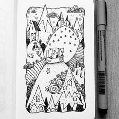 Dave Garbot — The Getaway Mountain Sketch, Mountain Drawing, Sketchbook Drawings, Cute Drawings, Sketches, Ink Doodles, Nature Sketch, Doodle Patterns, Sewing Art