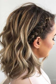 Peinados trenzados lindos para el pelo corto #estaesmimodacom #peinados #trenzas #rizado #cabello
