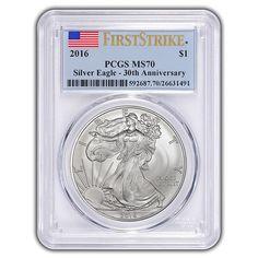 2016 American Silver Eagle PCGS MS70 FS Flag Label Obverse