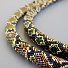 Necklace Snake is made of the smallest Japanese beads. A buckle in the shape of a snake gives the decoration a greater realism. Necklace is light, flexible. Necklace length with a buckle 18 inches centimeters) Gold Initial Pendant, Initial Pendant Necklace, Rope Necklace, Leather Necklace, Necklace Lengths, Necklace Ideas, Crochet Necklace, Bead Crochet Patterns, Bead Crochet Rope