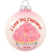 Personalized I Love You Cupcake Glass Ornament - $9.99 - Bronner's CHRISTmas Wonderland