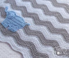 Baby Boy Elephant Blanket Blue Elephant Gray by puddintoes