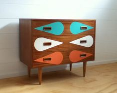 retro furniture makeover with teardrop pattern