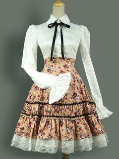 Classic Lolita Dress Vintage OP Floral Print Lolita One Piece Dress