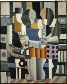 "Fernand LEGER. ""Les trois figures"".  1921. Oil on canvas. Size in Cm: 65 x 54."