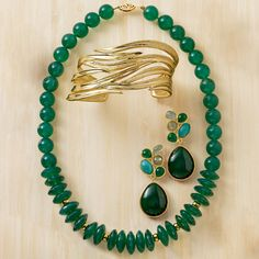 Nile Style! Gold Cuff. Green Agate Bead Necklace. Mixed Cabochon Earrings. Rich mosaics of green agate, labradorite, amazonite and aquamarine. >>Click on the pin to shop this look. #jewelry #nile #Egyptian #cleopatra #RossSimons