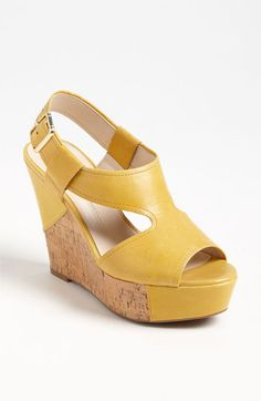 On sale: Franco Sarto Yellow Wedge Sandal