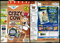 I Ate Crazy Cow Cereal just for the Star Wars Cards - The Retroist General Mills, Flavored Milk, Star Wars Poster, Classic Cartoons, Greggs, Chocolate Flavors, Cereal, Cow, Stars