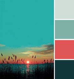 Color Inspiration The vibrant colours of a sunset serve as inspiration for a colour palette. Colour Schemes, Color Combinations, Bedroom Turquoise, Coral Turquoise, Color Palate, Colour Board, Bathroom Colors, Bedroom Colours, Color Theory