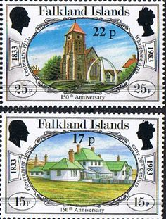 Falkland Islands 1984 150th Anniversary of British Administration Surcharged Set Fine Mint SG 467/8 Scott 402/3 Other South Pacific and British Commonwealth Stamps HERE!