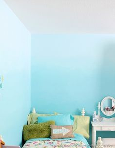 Beautiful beachy ombre blue bedroom walls