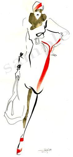 Ink & watercolor fashion illustration print от JulijaLubgane